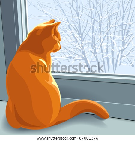 vector red british cat sits on the windowsill in the winter and looking out the window at the snow-covered trees