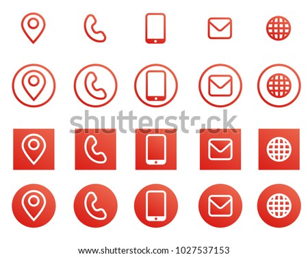 Vector red business card contact information icons