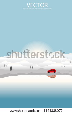 vector red car driving on the