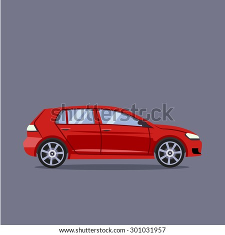 vector red car flat style