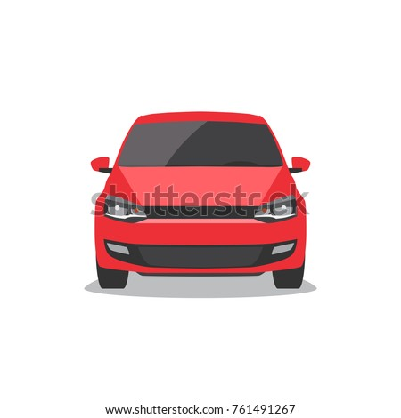 Vector red car. Front view.