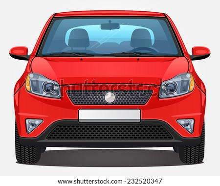 Vector red Car - Front view | Visible interior version