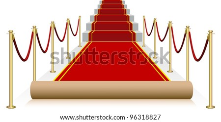 Vector red carpet isolated on white background