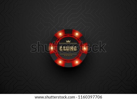 Vector red casino poker chip with luminous light elements. Black silk geometric background. Blackjack or online casino web banner, logo or icon
