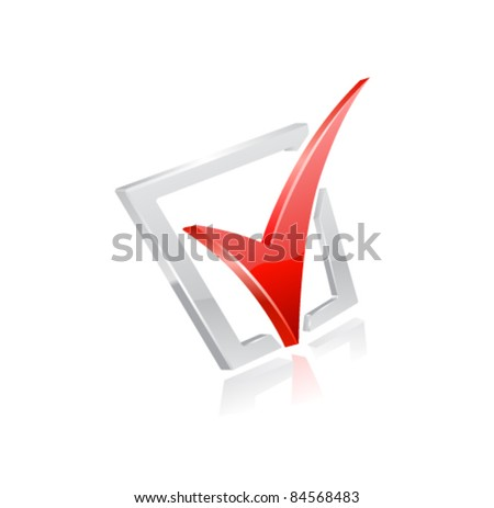 Vector red checkmark.