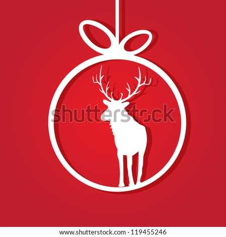 vector red christmas background. vector christmas deer. christmas brochure. cut paper.