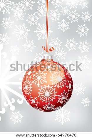 vector red Christmas ball on silver background