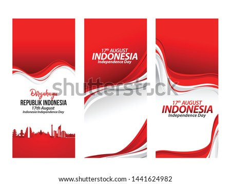Vector red color Flat design, Illustration of flag for poster. 17th August Indonesia Independence Day concept.
