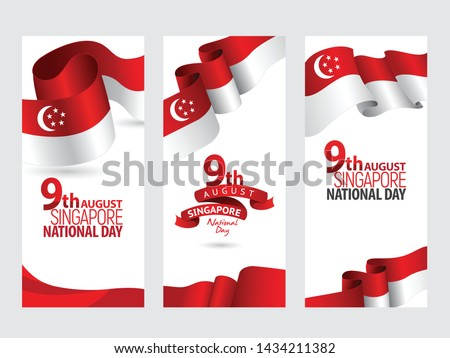 Vector red color Flat design, Illustration of flag for poster. 9th August Singapore National Day concept.