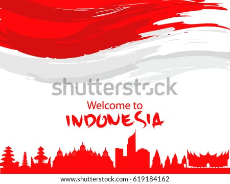 Vector red color Flat design, Illustration of Indonesia Icons, flag, and landmarks with wording welcome to Indonesia