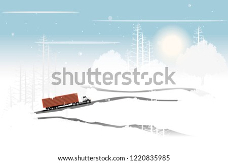 vector red container truck
