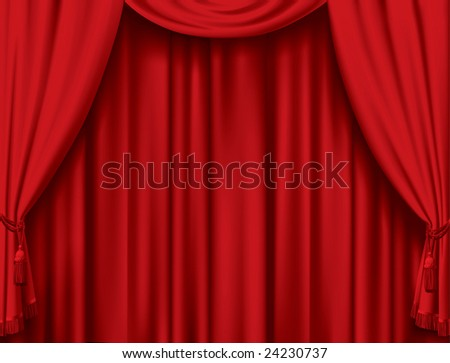 Vector red curtain - stock vector