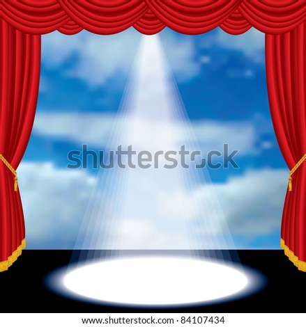 vector red curtain stage with cloudy sky
