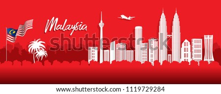 Vector red design Ilustration of city of Kuala Lumpur and Malaysia flag. Malaysia Travel concept.