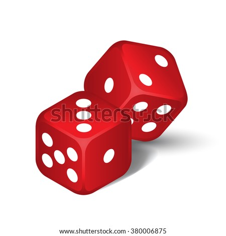 vector red dices isolated on
