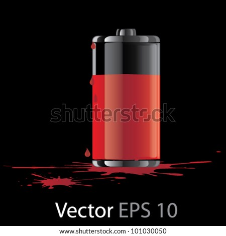 Vector red fuel cell ilustration