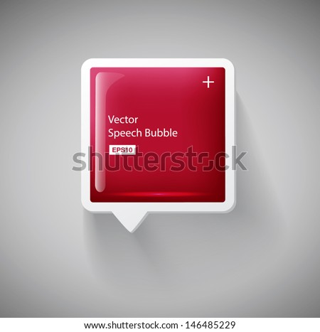 Vector red glossy square 3d plastic speech bubble