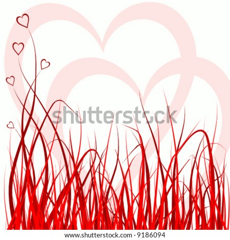 vector red grass decorated with hearts