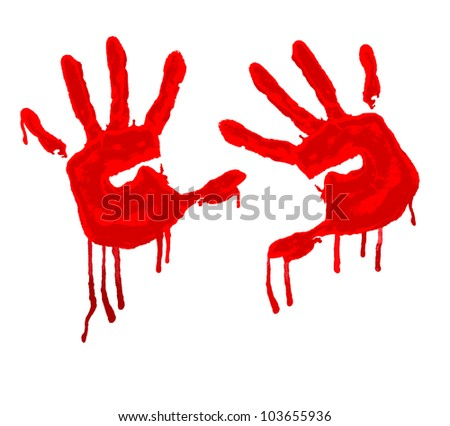 vector red hand print on white background
