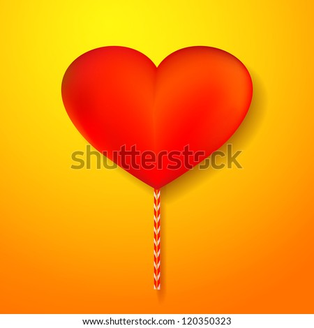 Vector red heart candy on yellow background