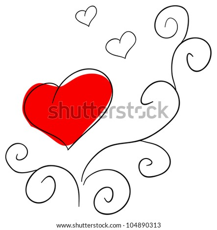 Vector red heart is isolated on a white background