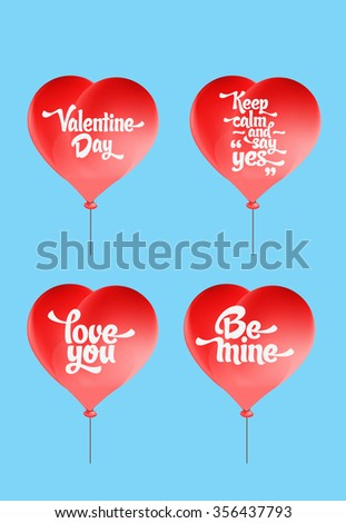 Stock Photo Vector red heart-shaped balloons set. Love elements with text 'love you, be mine, valentine day, keep calm and say yes' for a Valentine day card.
