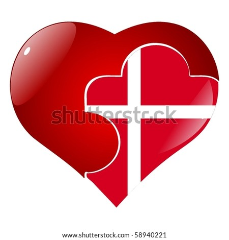 vector red heart with the national flag Denmark  on the puzzle