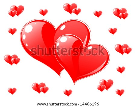 vector red hearts   greeting