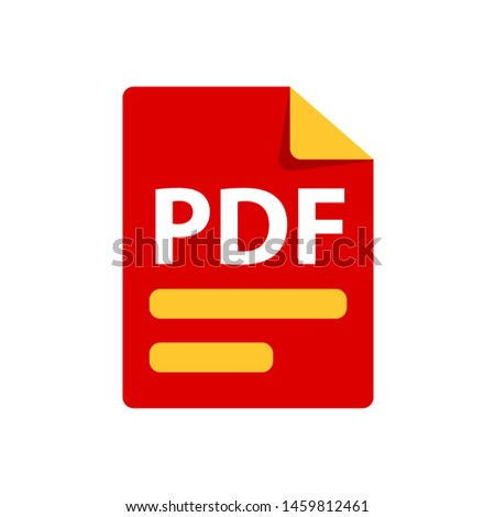 Vector red icon PDF. File format extensions icon. flat design style.