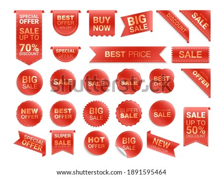 Vector red labels isolated on white background. Sale promotion, website stickers, new offer badge collection. Flat badges discount and tags. Best choice tags.  Vector illustration.