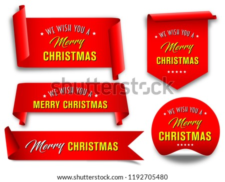 Vector, red merry christmas ribbon banners set,  Paper scrolls, Ribbons, stickers.
