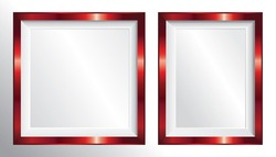 Vector red metallic picture frames