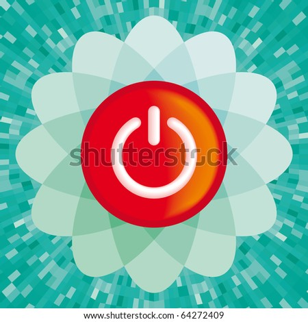 Vector red On button with green background