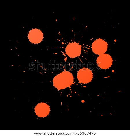 vector red orange realistic traces of paintball shots splashes and splatters realistic texture isolated on black background Stock photo ©