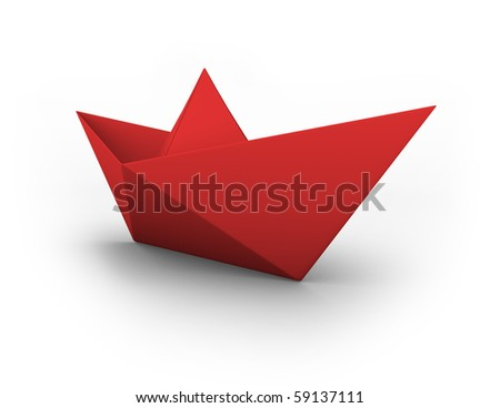 VECTOR red origami boat