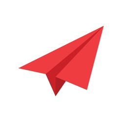 Vector red paper airplane icon