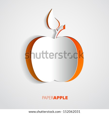 vector red paper apple card