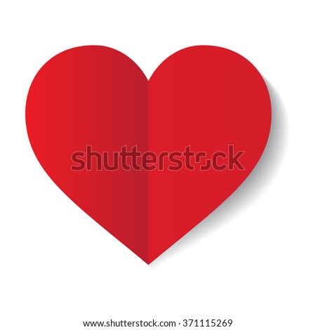 vector red paper heart on white ...