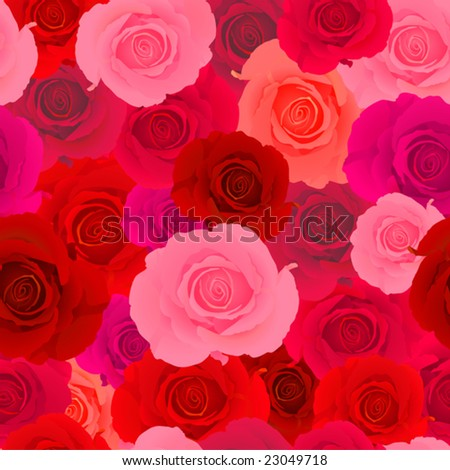 Vector. Red & Pink Rose Seamless Pattern