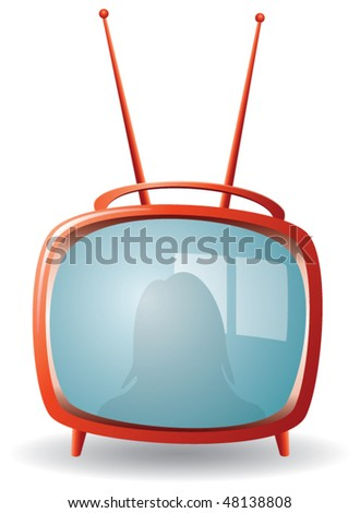 vector red retro tv set