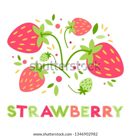 vector red ripe strawberry card