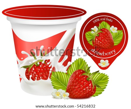 Vector. Red ripe  strawberry with leaves and flowers.Background for design of packing yoghurt.