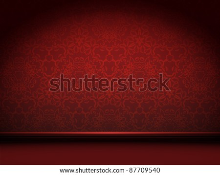vector red room with abstract