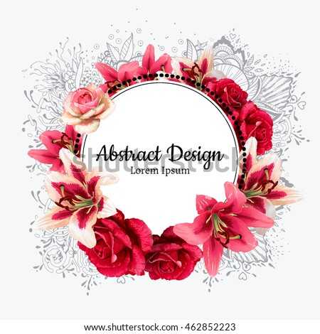 vector red rose and white lily illustration. invitation card.