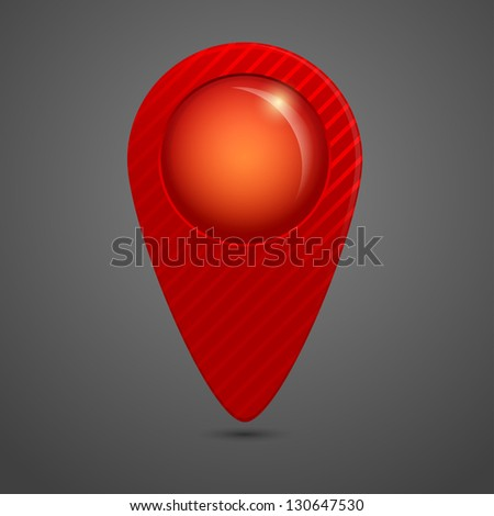 Vector red round glossy map pointer