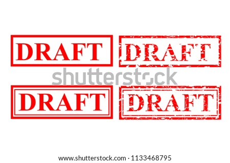 vector red rubber stamp effect, draft