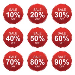 Vector: Red Sale 10 - 90 Percent OFF Discount Label Tag Isolated on White Background