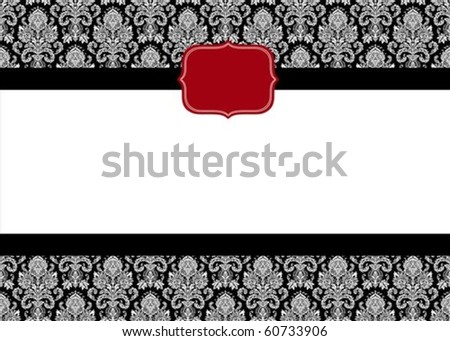 Vector red seal and ornate pattern. Perfect as an invitation or announcement.  Pattern is included as seamless swatch. All pieces are separate.