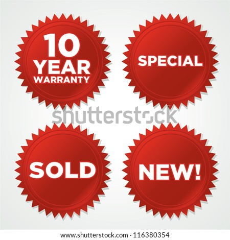 vector red seals stickers with drop shadow