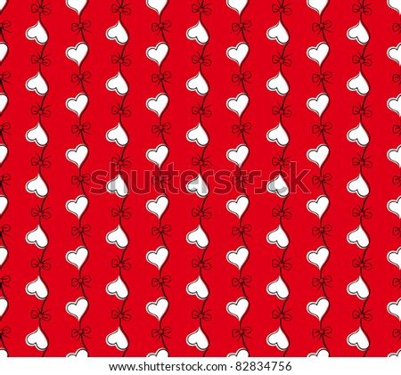 vector red seamless pattern with flower heart. Valentines day background